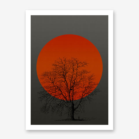 Poster print with orange sun and a tree, on grey textured paper effect background.