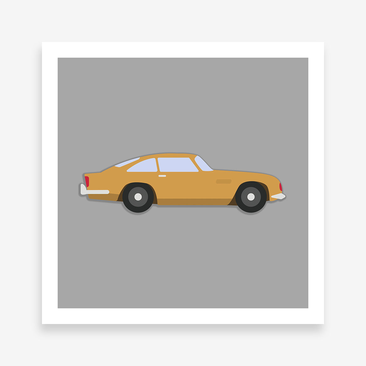 Poster print with a yellow classic car on a grey background.