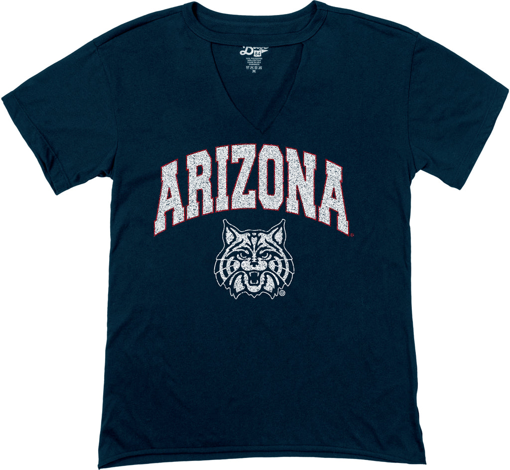 Arizona Wildcats Eva Cut Out V-Neck - Black