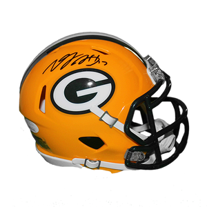 Davante Adams Packers Autographed Mini Speed Football Replica Helmet Yellow (JSA COA)