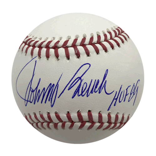 Johnny Bench Autographed Official Major League Baseball (JSA COA) HOF Inscription