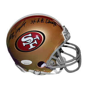 John Taylor San Francisco 49ers Autographed Football Mini Helmet (JSA COA) 3 x Super Bowl Champ Inscription
