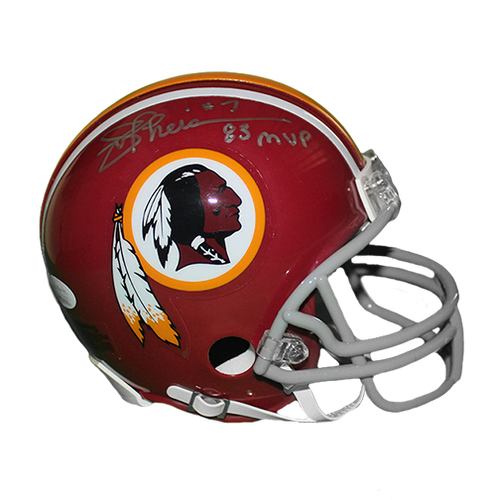 Joe Theismann Redskins Autographed Replica Mini Football Helmet (JSA COA) RARE MVP INSCRIPTION INCLUDED