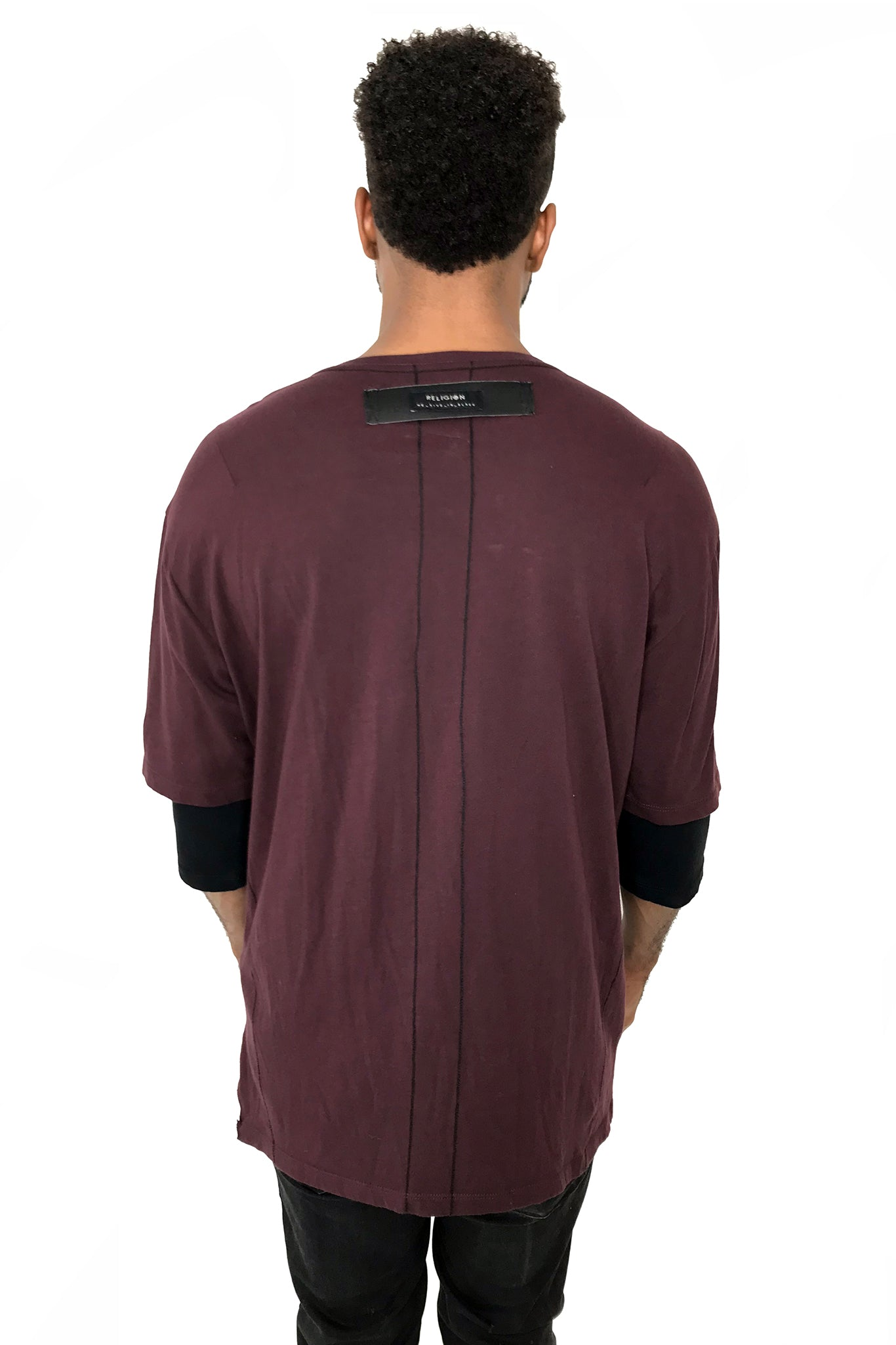 Men T-Shirt Block Merlot by Religion UK - Brit Boss
