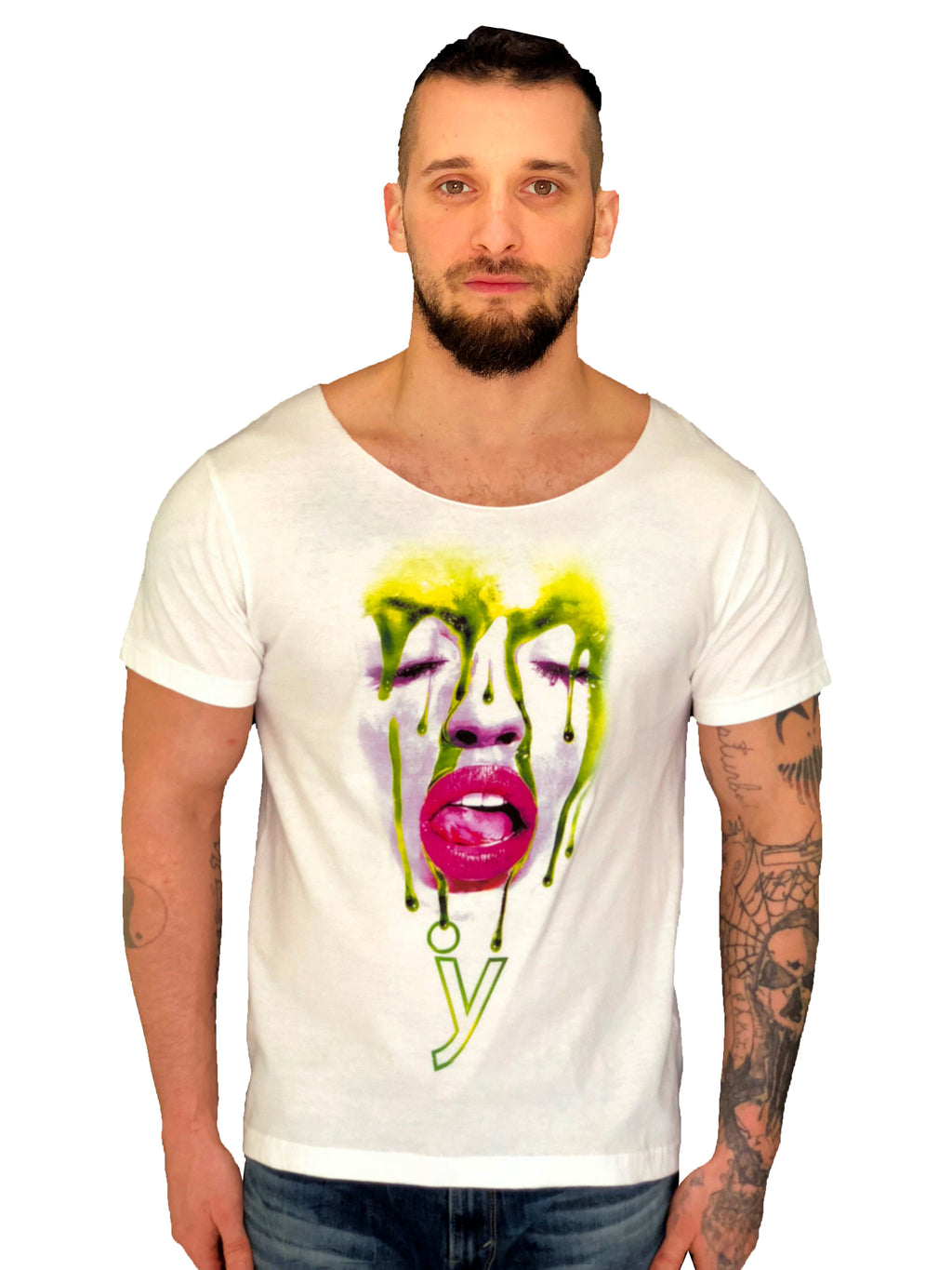 "Men White T-Shirt ""Face"" Messy Make Up by iacobuccyounes Italy Raw - Brit Boss"