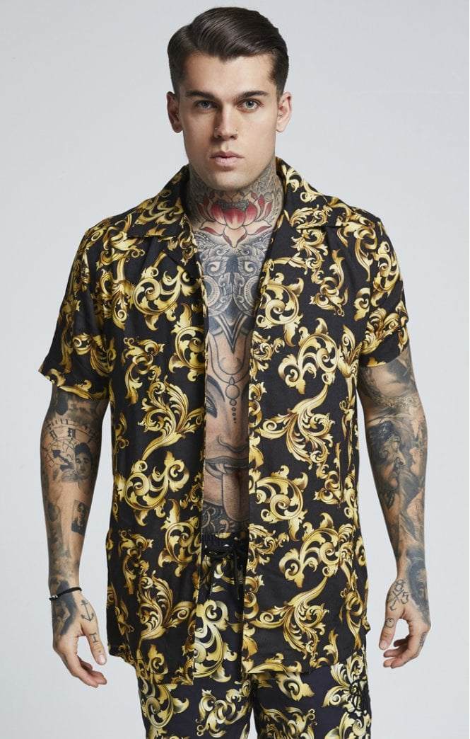 SikSilk Resort Shirt Venetian Gold Summer Shirt Resort Look Men
