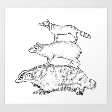 Fine Art Print of Marie's Animal Stack Drawing