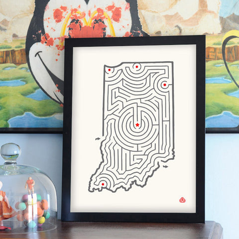 Indiana Map State Maze Offset Print | David Birkey for Imaginary Animal