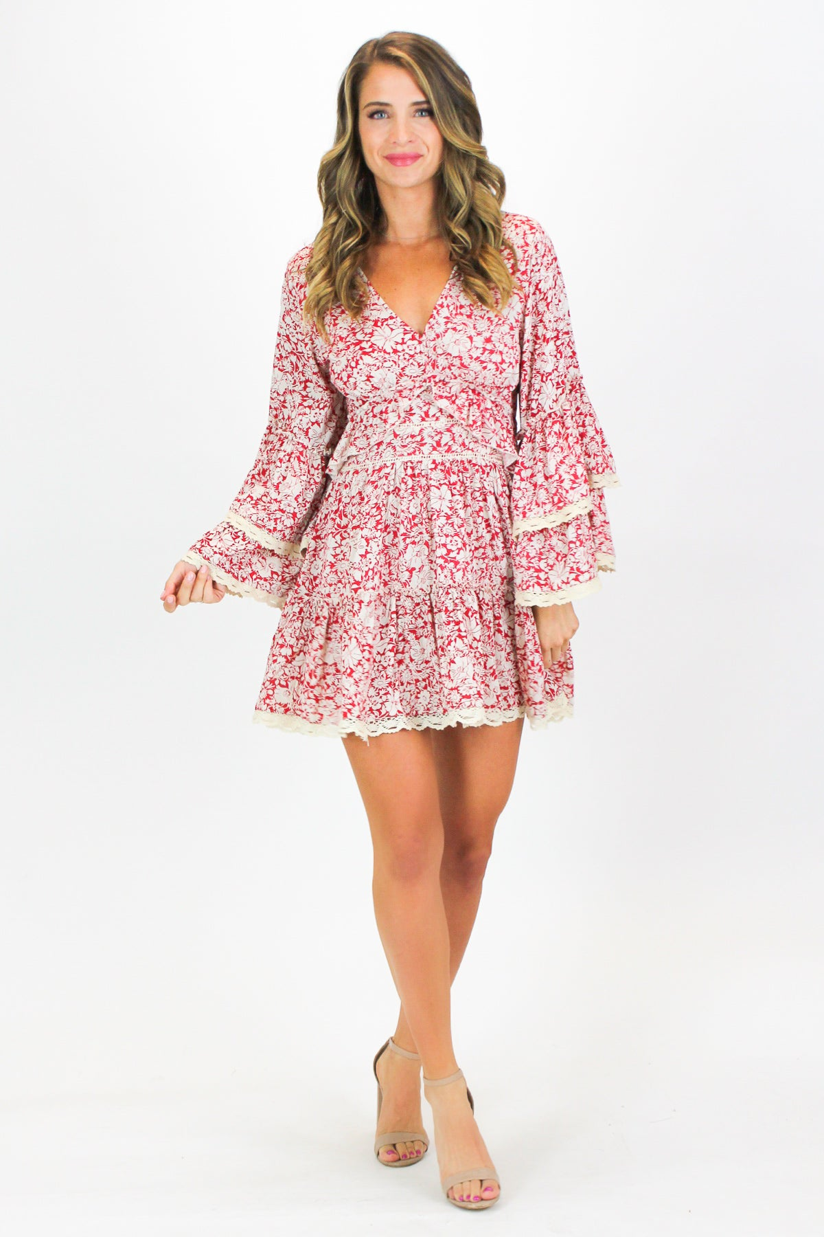 FLORAL BABYDOLL BELL SLEEVE DRESS
