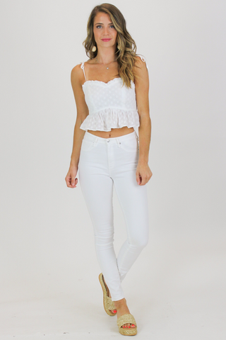 V NECK STRAPPY BODYSUIT IN WHITE