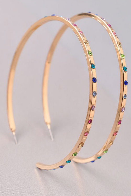 MULTI COLOR GEM GOLD HOOPS