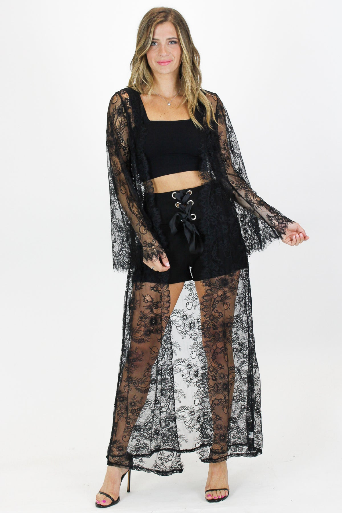 LACE LONG COVER UP IN BLACK