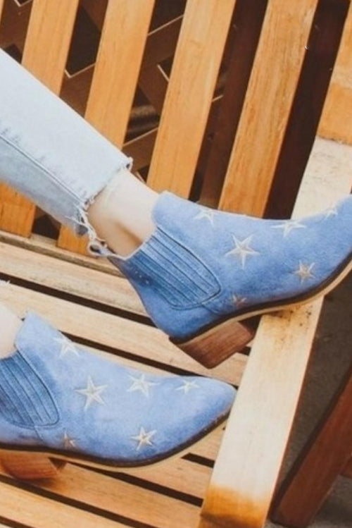 BLUE SUEDE STAR BOOTIES