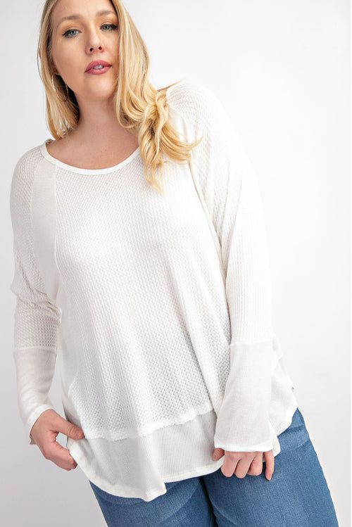 PLUS SIZE CUT HI-LO TOP IN OFF WHITE