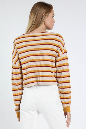 Earn Your Stripes Yellow Sweater