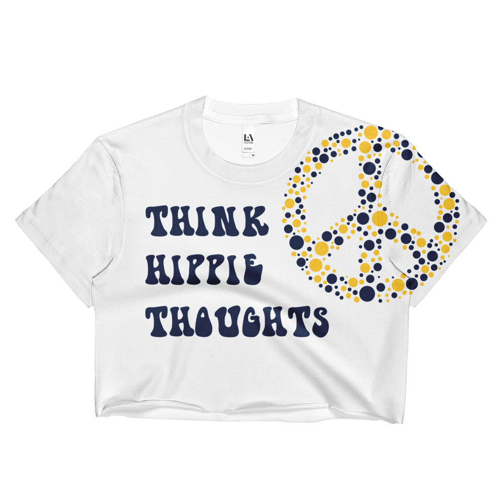 Think Hippie Thoughts Crop Top, Navy & Yellow