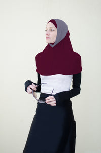 Hi Tech Performance Hijab (Maroon with Dark Grey)