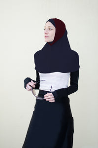 Hi Tech Performance Hijab (Black with Maroon Band)