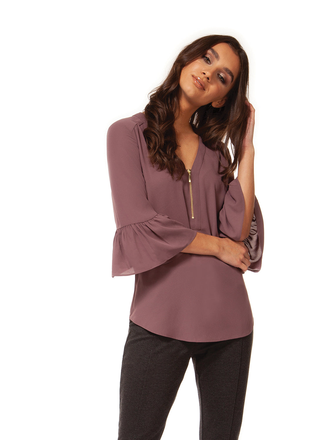 Ruffle Sleeve Front Zip Blouse