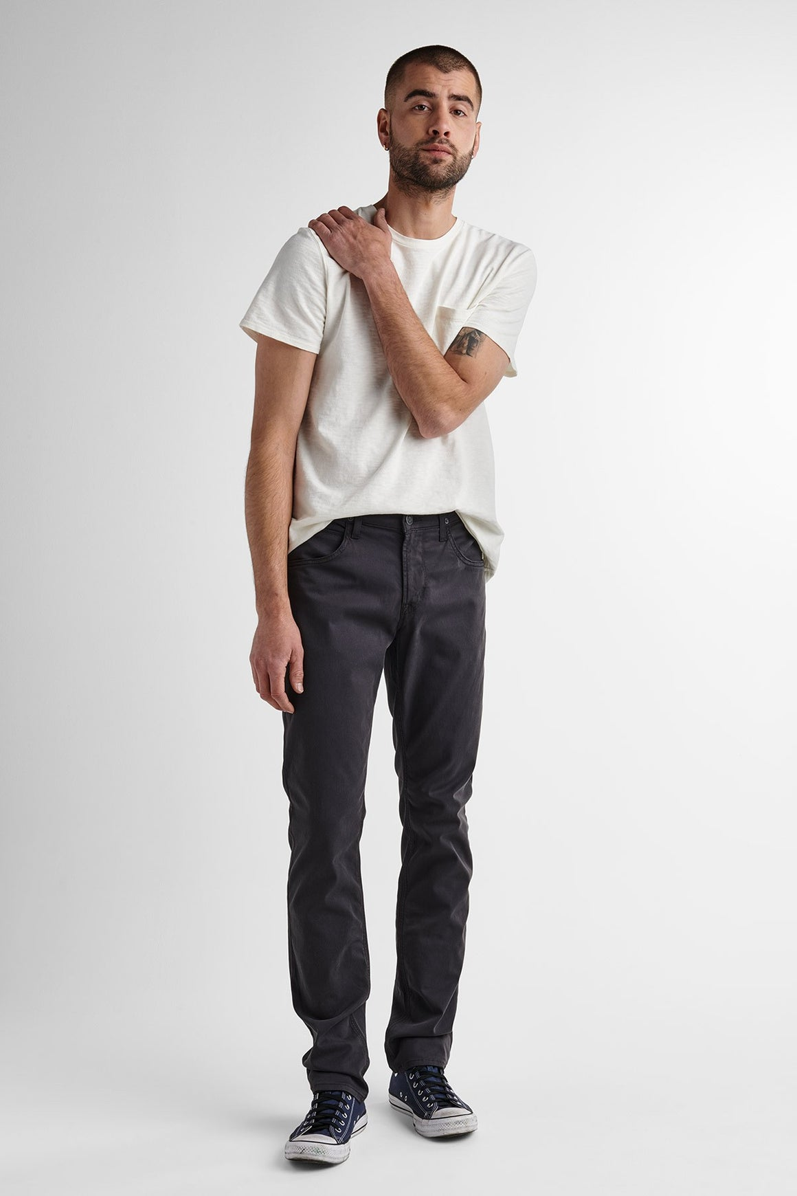 Black Slim Straight Twill Jean