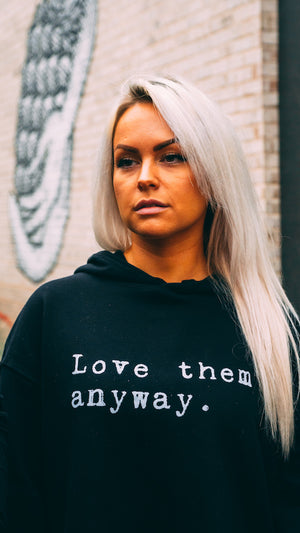 Love Them Anyway Ladies Cropped Fleece Hoodie