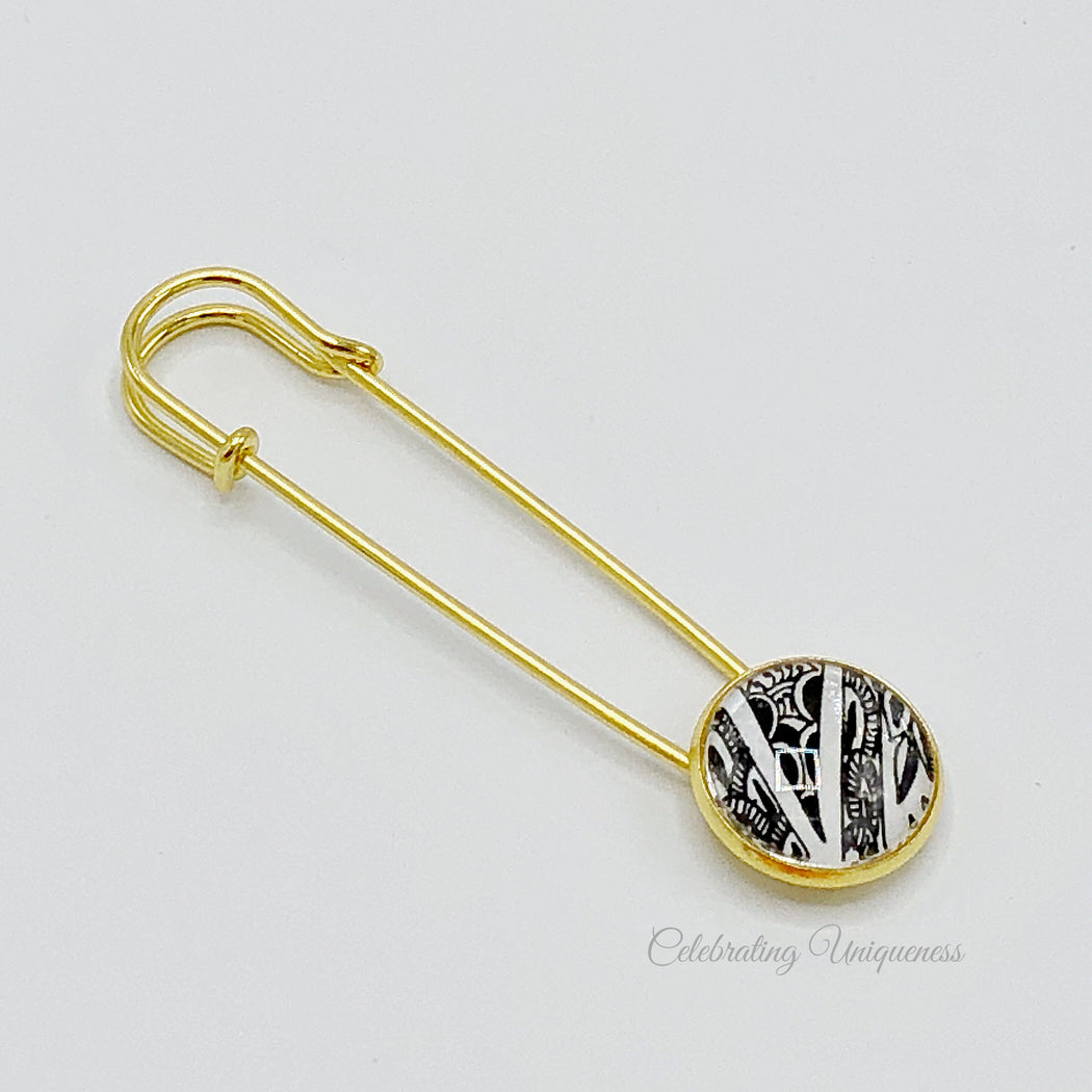 Unique Gold Shawl Pin, Sweater Pin, Saree Pin - MeCelebratingU