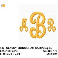 Classy 3 letter Machine Embroidery Monogram Fonts Designs Set - Embroidery Designs By AVI