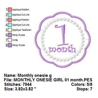 Applique Baby Girl Months Monthly Bodysuit Age Numbers Fonts Machine Embroidery Design Set - Embroidery Designs By AVI