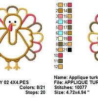 Thanksgiving Fall Turkey Applique II Machine Embroidery Design - Embroidery Designs By AVI