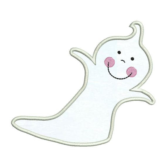 Applique Cute Happy Ghost Halloween Embroidery Design - Embroidery Designs By AVI