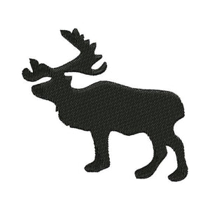 Moose Silhouette Shadow Machine Embroidery Design - Embroidery Designs By AVI