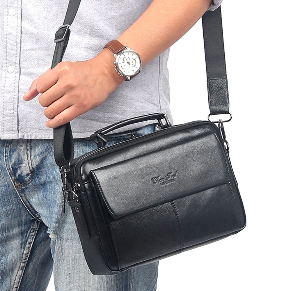Men's Genuine leather  Business Messenger Shoulder Cross Body Bag - Glam Eyes Sunglasses