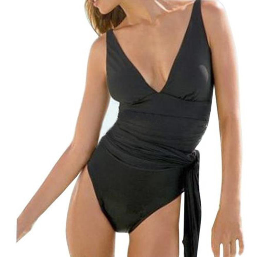 Pia Black Swim Dress (Skirt Becomes Sash) In Sizes XS-XXXL - Glam Eyes Sunglasses