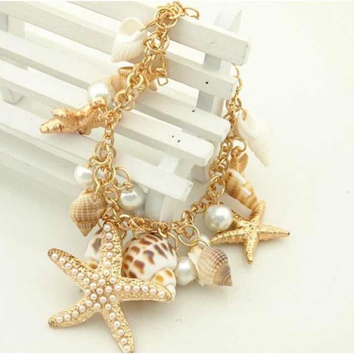 Salome Starfish Bracelet With Pearls, Various Shells on Alloy Chain - Glam Eyes Sunglasses