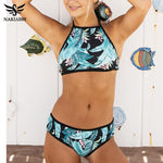 Penny Palm Frond Print Halter Top Bikini S-XL - Glam Eyes Sunglasses