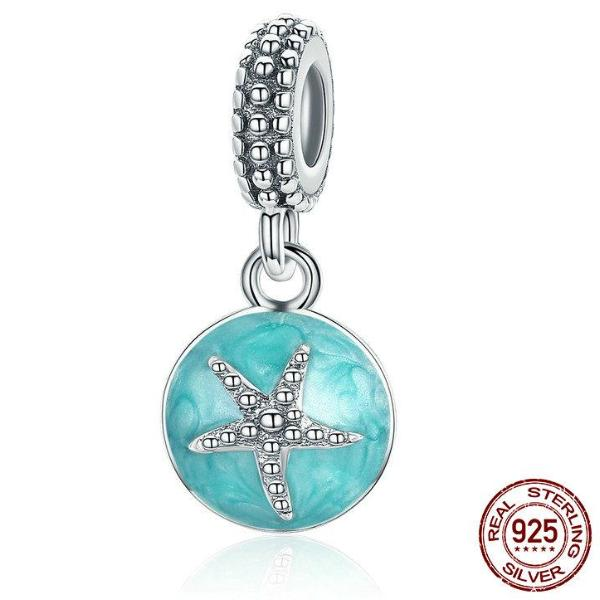 Stella Sterling Silver Aqua Starfish Dangle Bead Fits Stella Charm Bracelet - Glam Eyes Sunglasses
