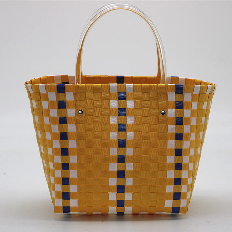 Lena Bucket Style Basket-Weave Straw Handbag With Unique Handle - Glam Eyes Sunglasses