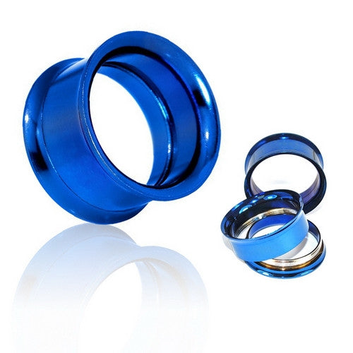 Blue Surgical Steel Double Flared Screw-Fit Tunnels-Glitters-New Zealand