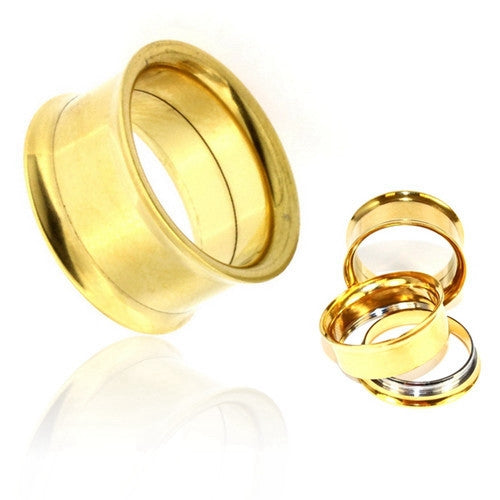 Gold Plated Surgical Steel Double Flared Screw-Fit Tunnels-Glitters-New Zealand