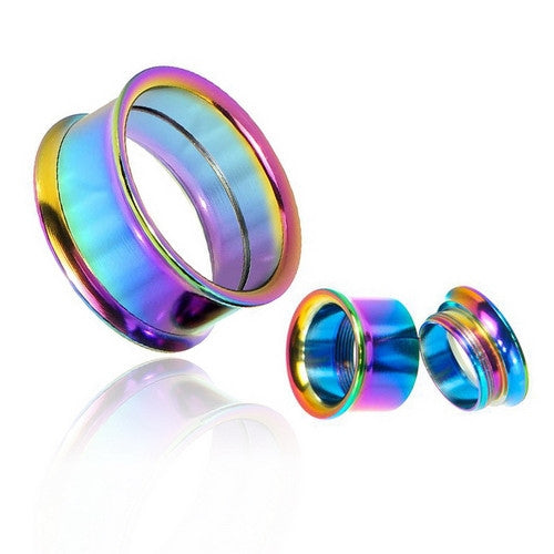 Rainbow Color Surgical Steel Double Flared Screw-Fit Tunnels-Glitters