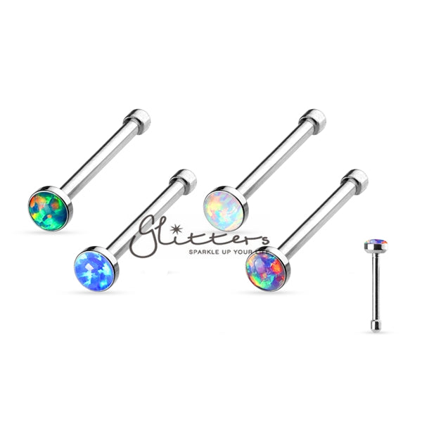 20GA 316L Surgical Steel Nose Bone with Opal Set-Glitters-New Zealand