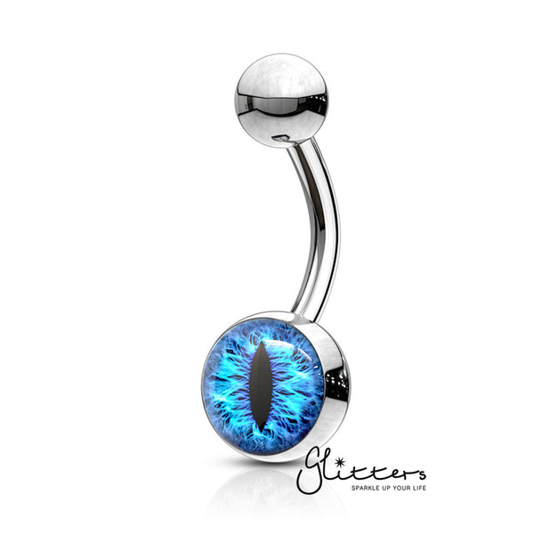316L Surgical Steel Snake Eye Inlaid Belly Button Navel Ring - Blue-Glitters-New Zealand