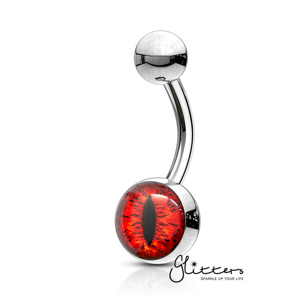 316L Surgical Steel Snake Eye Inlaid Belly Button Navel Ring - Red-Glitters-New Zealand