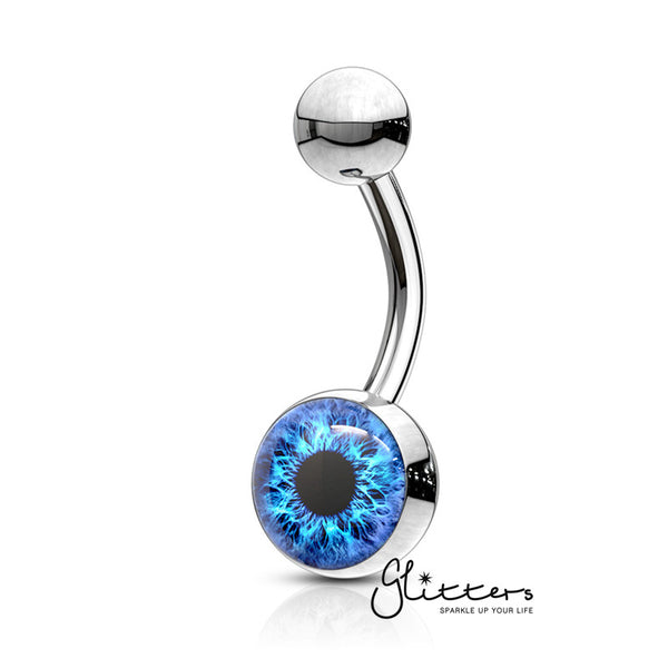 316L Surgical Steel Eye Inlaid Belly Button Navel Ring - Blue-Glitters-New Zealand