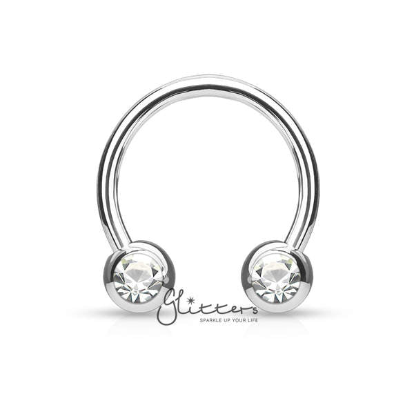 Surgical Steel Front Facing Jewel Set Balls Circular/Horseshoes-Silver-Glitters