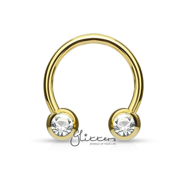 Surgical Steel Front Facing Jewel Set Balls Circular/Horseshoes-Gold-Glitters