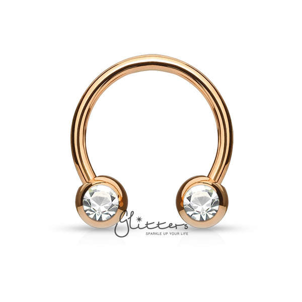 Surgical Steel Front Facing Jewel Set Balls Horseshoes Circular Barbell-Rose Gold-Glitters