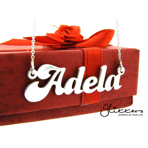 Personalized Sterling Silver Name Necklace-Font 3-Glitters