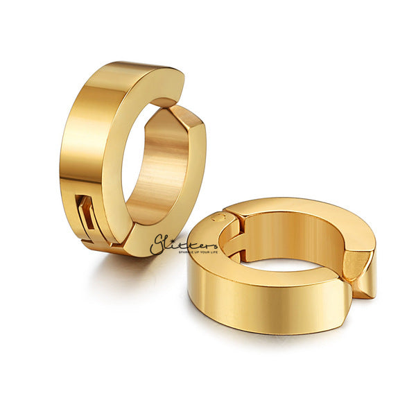 Non-Pierced Stainless Steel Clip On Hoop Earrings - Gold