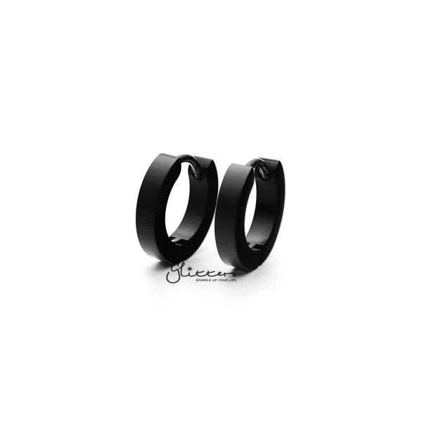 Black Titanium IP Stainless Steel Hinged Hoop Earrings - 3x9-Glitters-New Zealand